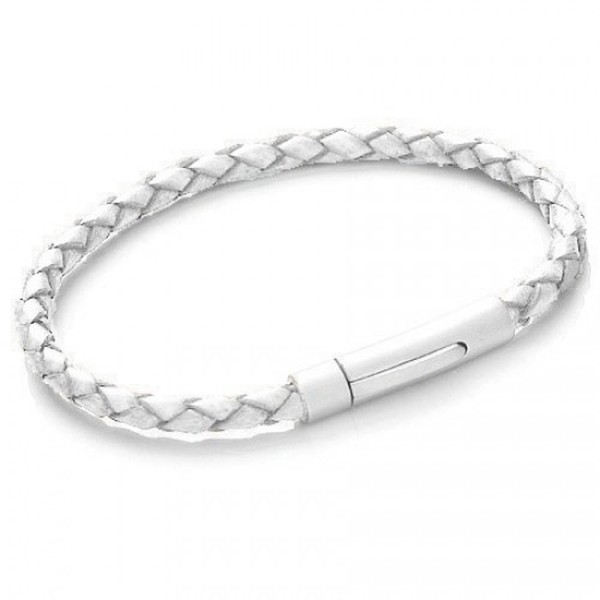 White Plaited Leather Bracelet, Satin S. Steel Push & Lock Clasp, 19cm