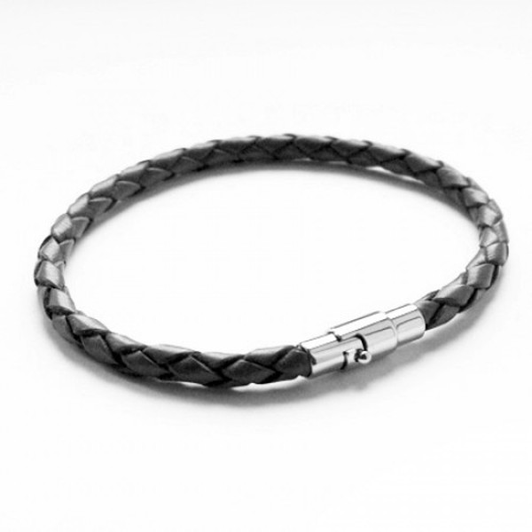 Black Plaited Leather Bracelet, Magnetic Bayonet Clasp, 20cm