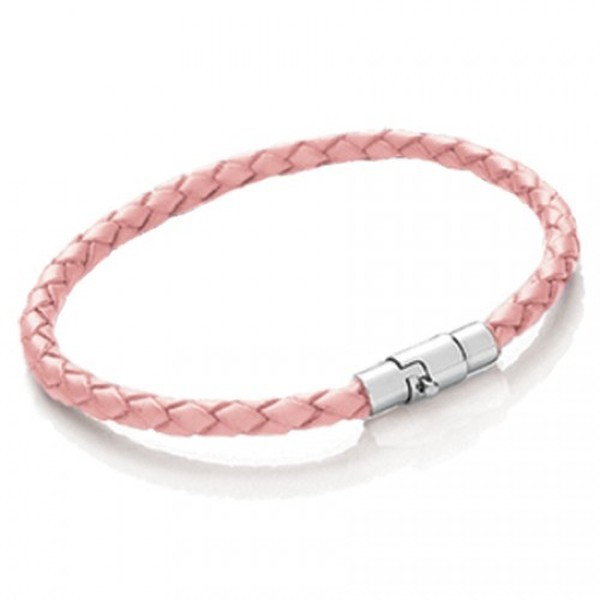 Pink Plaited Leather Bracelet, Magnetic Bayonet Clasp, 19cm
