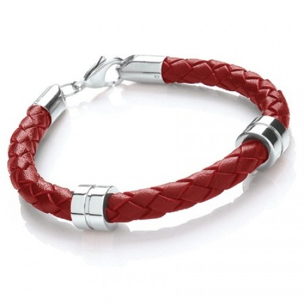 Red Leather Bracelet, 2 Stainless Steel Bands, Lobster Catch, 19cm