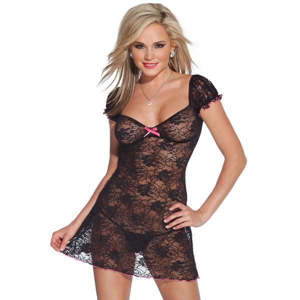 Coquette Kissable Black Lacey Dress