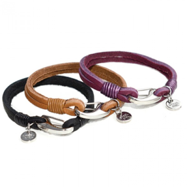 Purple 2-Strand Leather Bracelet, Tribal Disc Charm, Shrimp Clasp, 19cm