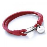 Red 2-Strand Leather Bracelet, Tribal Disc Charm, Shrimp Clasp, 19cm
