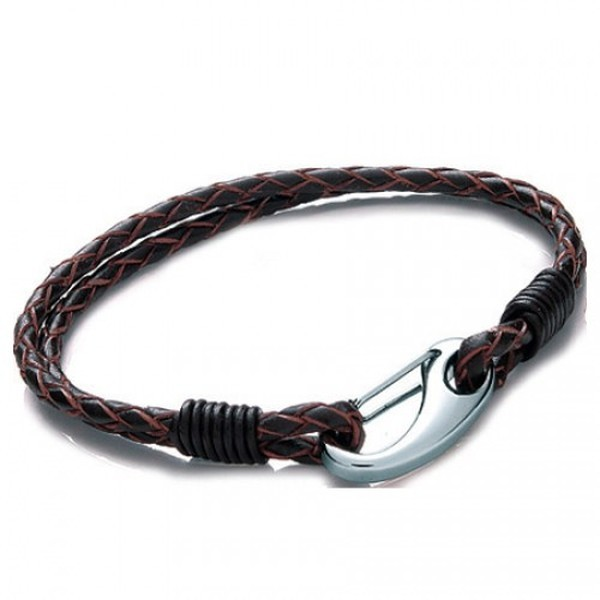 Brown Leather 2-Strand Bracelet, Shrimp Clasp, 21cm