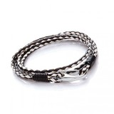 Dual Tone Brown Leather 2-Strand Bracelet, Shrimp Clasp, 21cm