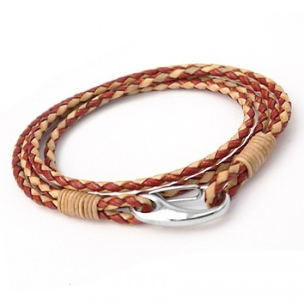 Dual Tone Brown Leather 4-Strand Double Wrap Bracelet, Shrimp Clasp, 21cm