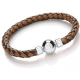 Dual Tone Brown Leather Bracelet, Spherical Magnetic Clasp, 21cm