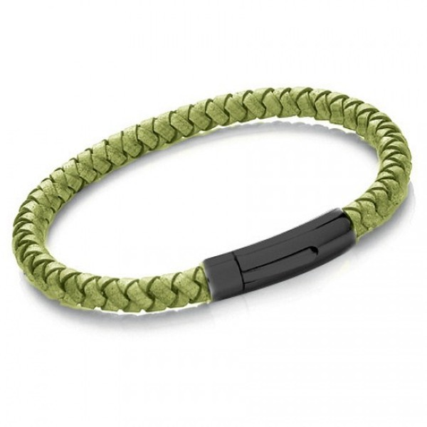 Green Leather 8mm Plaited Bracelet, Rocker Clasp, 22cm
