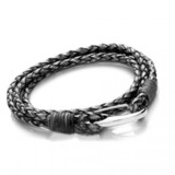 Grey Leather 4-Strand Double Wrap Bracelet, Shrimp Clasp, 21cm