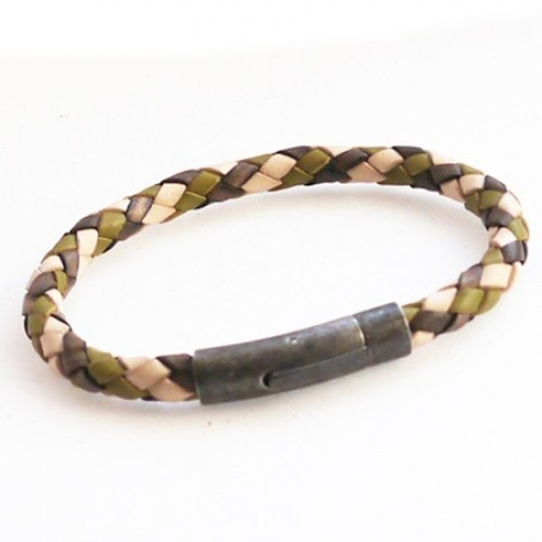 Gun Metal & Camo Plaited Leather Bracelet, Rocker Clasp, 21cm