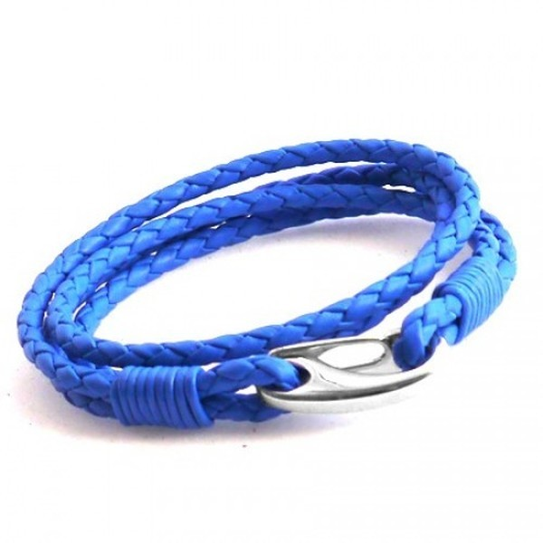 Neon Blue Leather 4-Strand Double Wrap Bracelet, Shrimp Clasp, 21cm