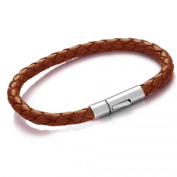 Tan Leather 5mm Plaited Bracelet, Rocker Clasp, 20cm