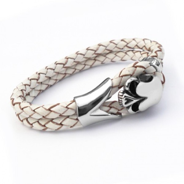 White Leather & Stainless Steel Skull Bracelet, 21cm
