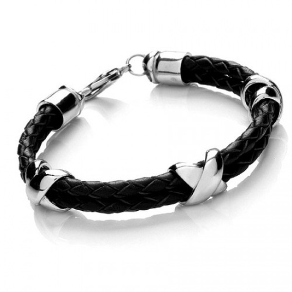 Black Leather & S. Steel Criss-Cross Bracelet, Lobster Clasp, 21cm