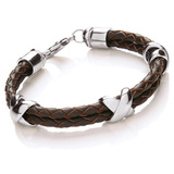 Brown Leather & S. Steel Criss-Cross Bracelet, Lobster Clasp, 23cm