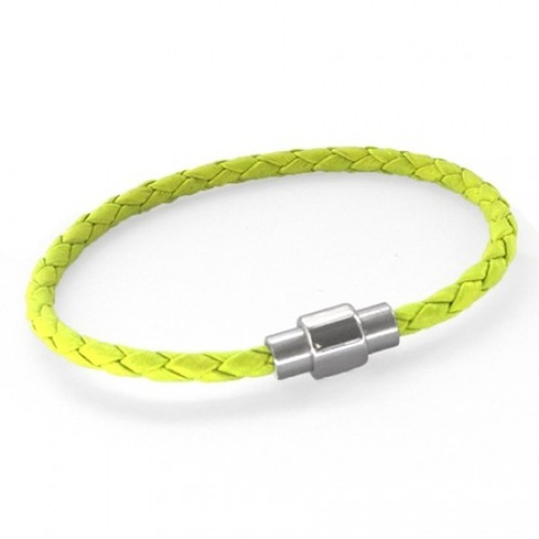 Neon Green Plaited Leather Bracelet, Magnetic Barrel Clasp, 21cm