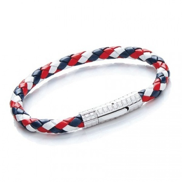 Red, White & Blue Plaited Leather Bracelet, S. Steel Clasp, 21cm