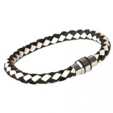 Black & White Leather Bracelet, Magnetic Clasp, 21cm