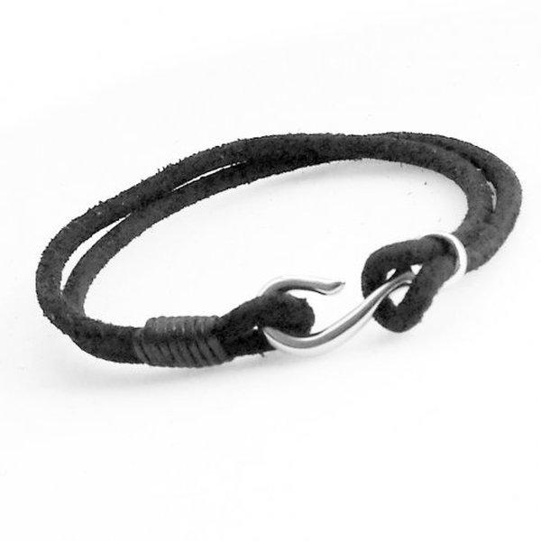 Black Suede Leather Bracelet, Fish Hook Fastening, 21cm