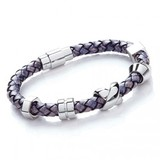 Denim Leather Bracelet, 5 Stainless Steel Beads, Magnetic Clasp, 21cm