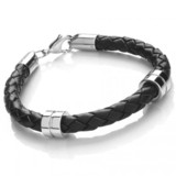 Black Leather Bracelet, 2 Stainless Steel Bands, Lobster Catch, 21cm