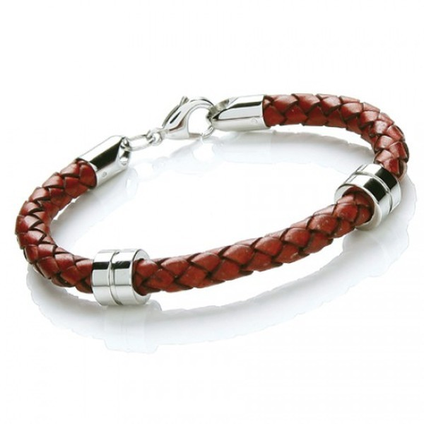 Rust Leather Bracelet, 2 Stainless Steel Bands, Lobster Catch, 21cm