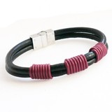 Black 2-Strand Leather Bracelet, Red Banded Knots, Magnetic Clasp, 21cm