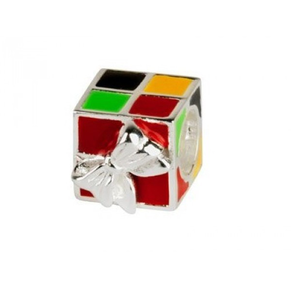 Sterling Silver Multicoloured Present Enamel Charm Bead