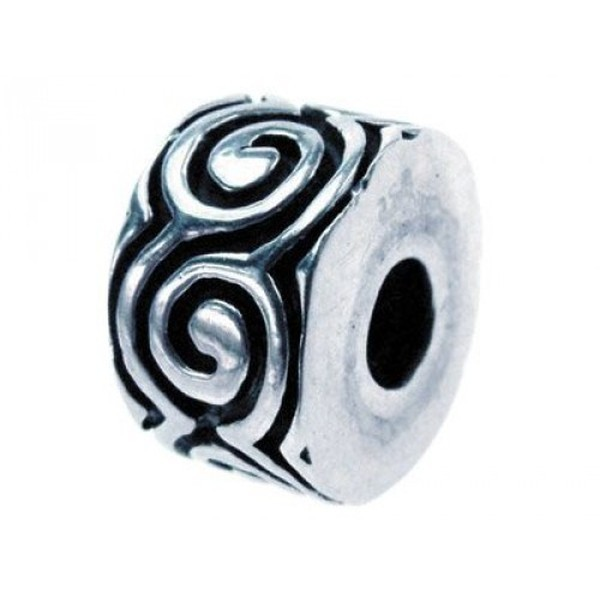Sterling Silver Oxidised Stopper Bead, Scroll Pattern