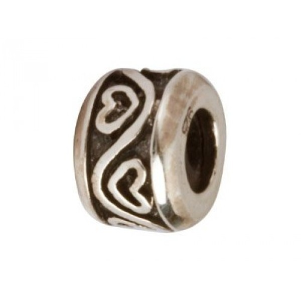 Sterling Silver Oxidised Stopper Bead, Heart Pattern
