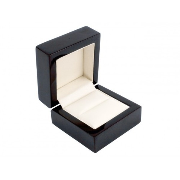 Black Wooden Ring Box, Cream Leatherette Interior