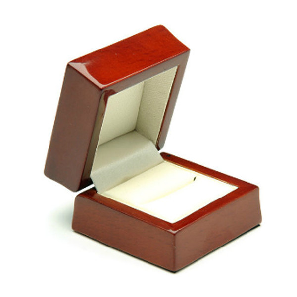 Mahogany Wooden Ring Box, Cream Leatherette Interior