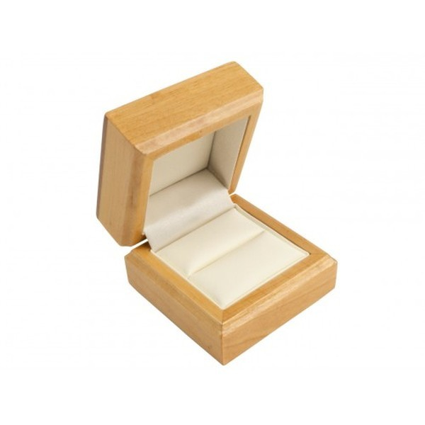 Maple Wooden Ring Box, Cream Leatherette Interior