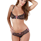 Black Bra Set with Pink Bows