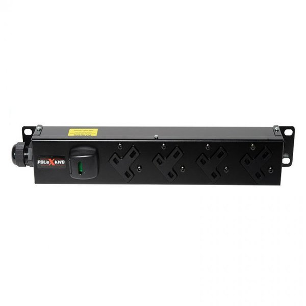 4 way vertical Slimline PDU L/H - 13A outlets with 3m lead c/w IEC C20 Plug