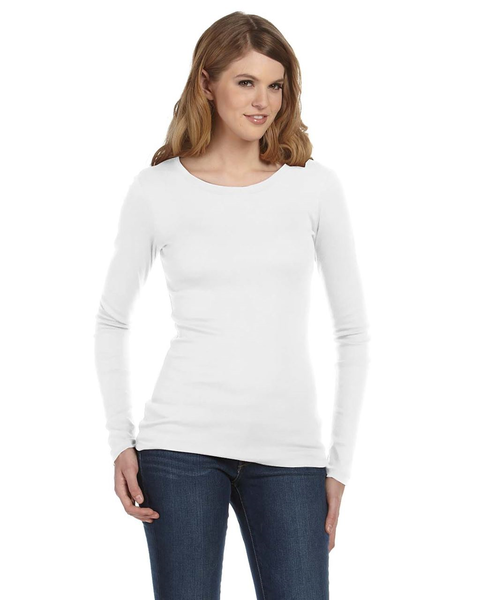 Bella Sheer Rib Long Sleeve Crew Neck T-shirt WHITE Large (UK 14)