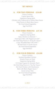 Menus & Prices, Tai Pan Express Ruislip, Ruislip
