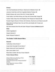 Menus & Prices, The Golden Truffle Catering and Restaurant, Costa Mesa