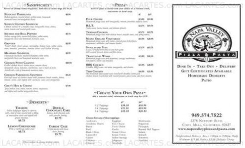 Menus & Prices, Napa Valley Pizza & Pasta, Costa Mesa