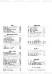 Menus & Prices, Jasmine Chinese Restaurant, Edinburgh