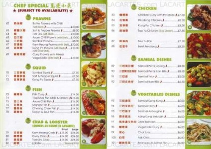 Menus & Prices, Noodle House Authentic Malaysian & Oriental Cafe, Sutton