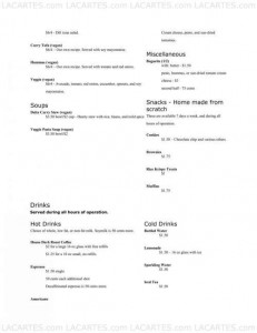 Menus & Prices, Delta of Venus Cafe, Davis