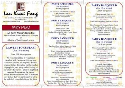 Menus & Prices, Lan Kwai Fong, Oxford