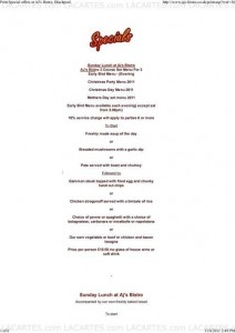 Menus & Prices, AJs Bistro, Blackpool