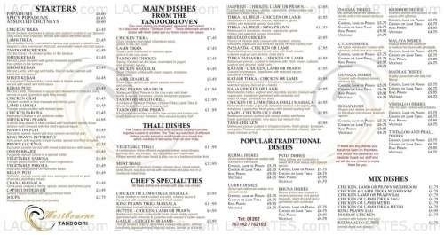 Menus & Prices, Westbourne Tandoori Restaurant - Bournemouth, Bournemouth