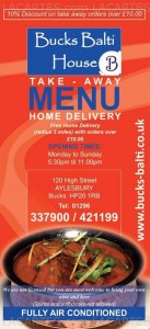 Menus & Prices, Bucks Balti House, Aylesbury
