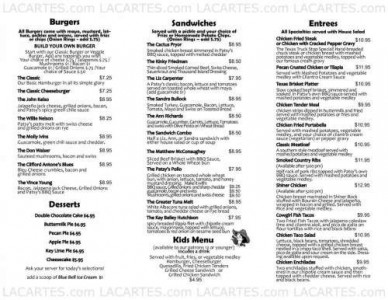 Menus & Prices, Patsy's Cafe, Austin