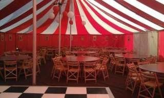 round table seating in marquee, Bigtopmania, Launceston