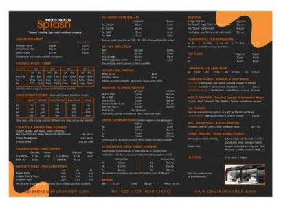 Menus & Prices, Splash of London, Shoreditch