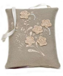 Wool Felt embroidered lavender bag , Chery Lin Skin Therapy, Tetbury